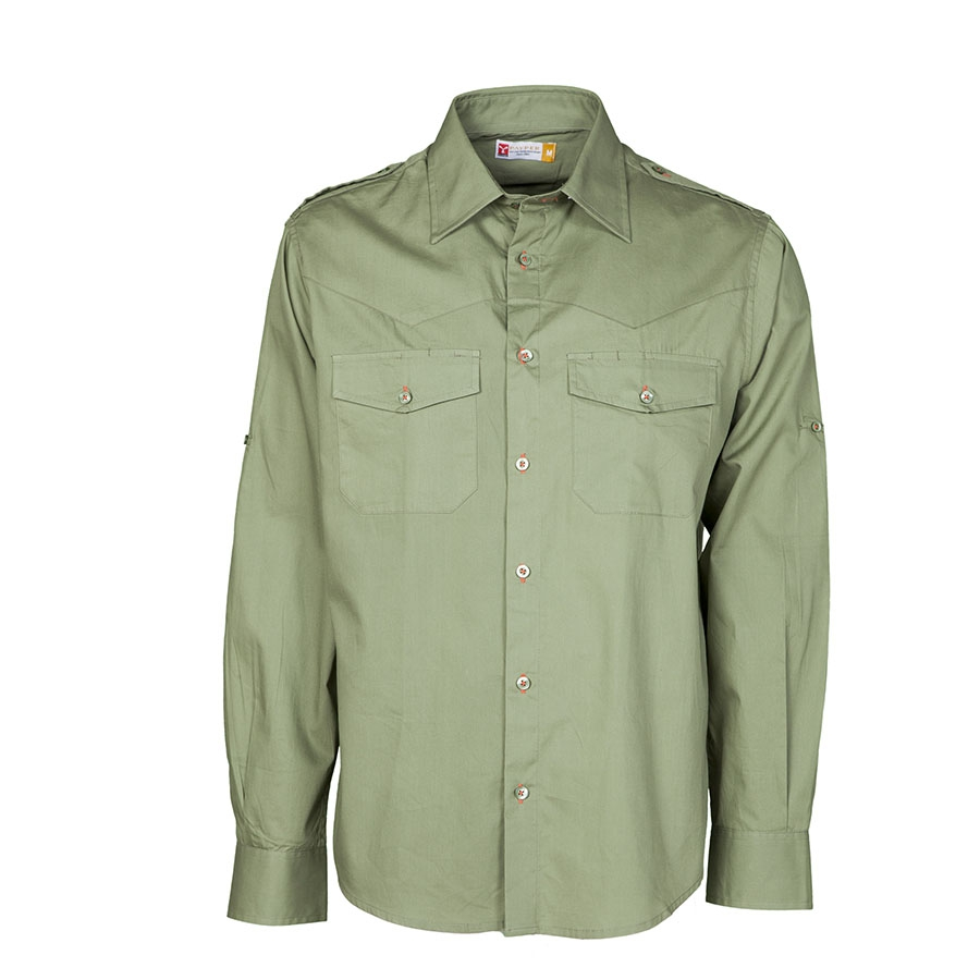 Camicia Due Petto Da Lunga Uomo Al Verde Militare Trophy Tasche PersonalizzareManica Con SpqUzMV