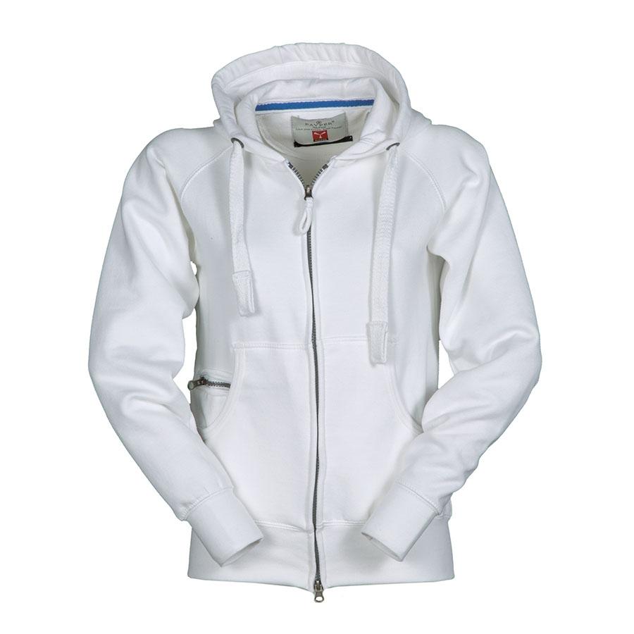 ce295770cbcdf6 Felpa donna bianca da personalizzare con zip intera, cappuccio, tasche a  marsupio Hawaii Lady