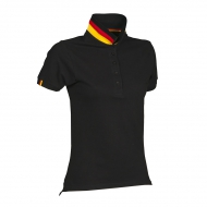 Polo donna nera/germania da personalizzare, manica corta a tre bottoni in tinta Nation