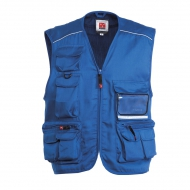 Gilet estivo unisex blu royal da personalizzare, multitasche con un portabadge reversibile Pocket