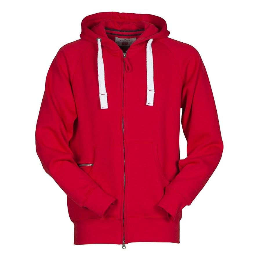 check out d62fd 3d7c0 Felpa uomo rossa da personalizzare con zip lunga e cappuccio ...