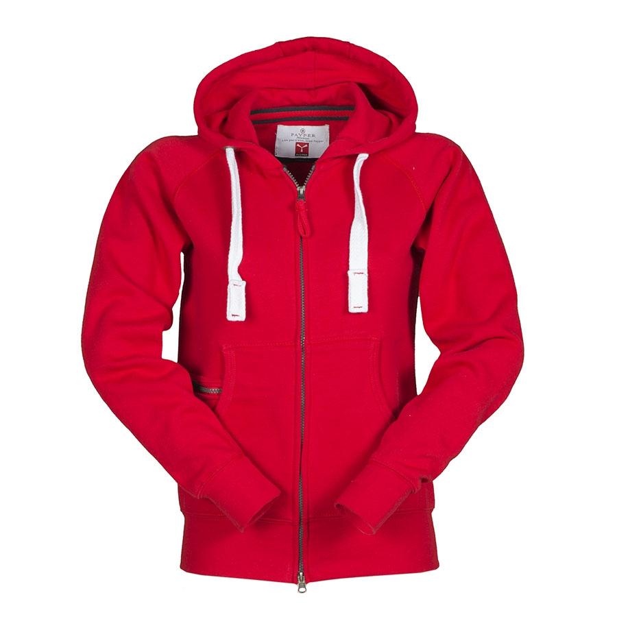 b4f1bc791be5 Felpa donna rossa da personalizzare con zip lunga e cappuccio Dallas Lady