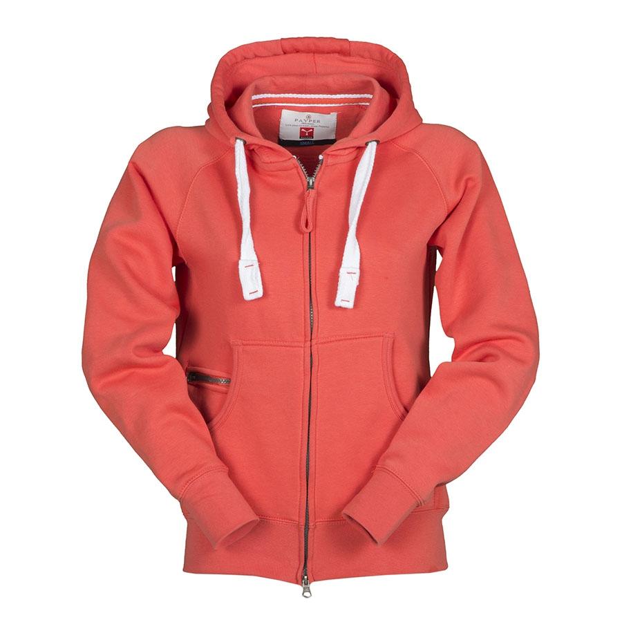 0d84892bcd Felpa donna rosso chiaro da personalizzare con zip lunga e cappuccio ...
