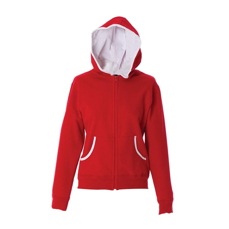 d7d9e220d44e Felpa donna rossa da personalizzare, con zip lunga e cappuccio Lucca ...