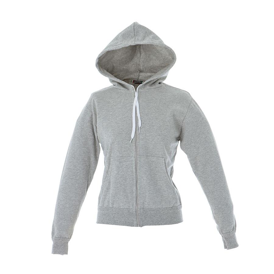 a9930380dd Felpa donna grigio melange da personalizzare, con zip lunga e ...