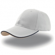 Cappellino bianco da personalizzare, visiera con piping a contrasto in rilievo Zoom Piping Sandwich