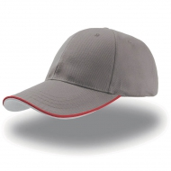 Cappellino grigio da personalizzare, visiera con piping a contrasto in rilievo Zoom Piping Sandwich
