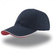 Cappellino blu navy da personalizzare, visiera con piping a contrasto in rilievo Zoom Piping Sandwich
